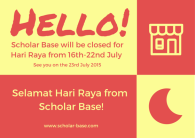 Scholar Base will be closed for Hari